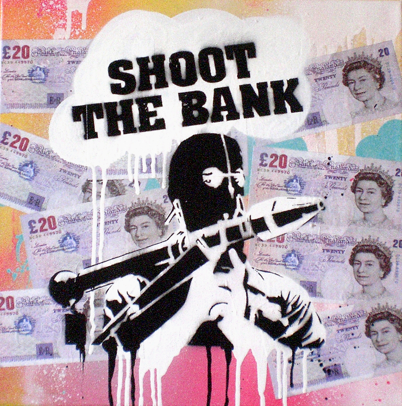 JP Malot 'Shoot The Bank' Acrylic, Collage and