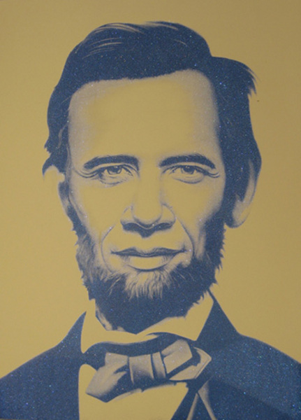Ron English 'Obama x Lincoln' Diamond Dust Print