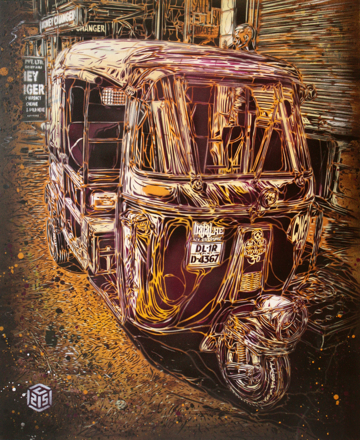 C215 'New Delhi Rickshaw' Stencil On Board Size: 50 x 61 cm £1200 Each