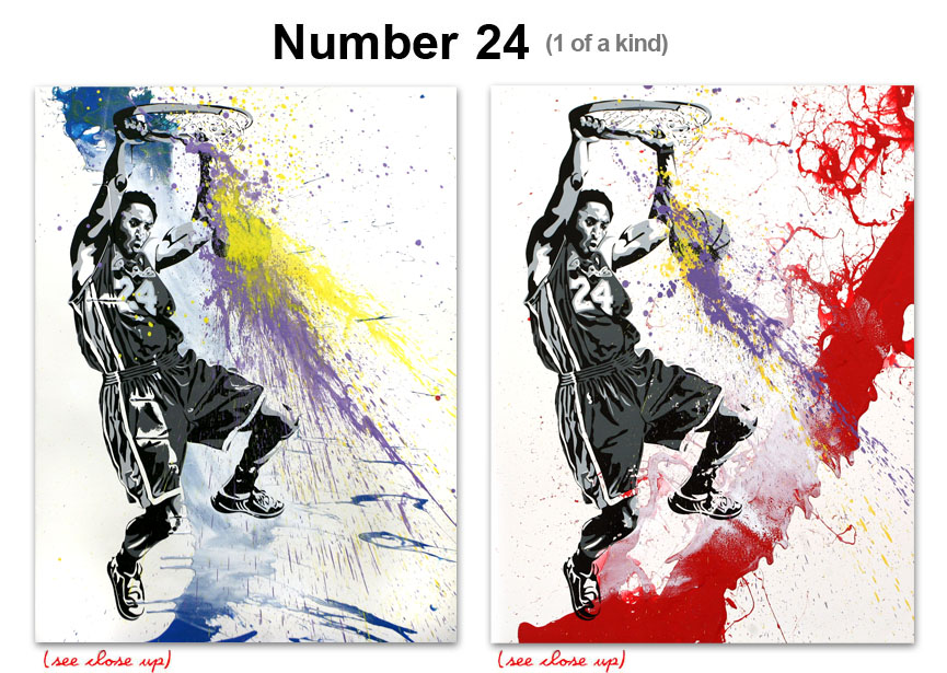 Mr Brainwash 'Number 24' Kobe One Of A Kind Size: 22 x 30 Inches $824 Each