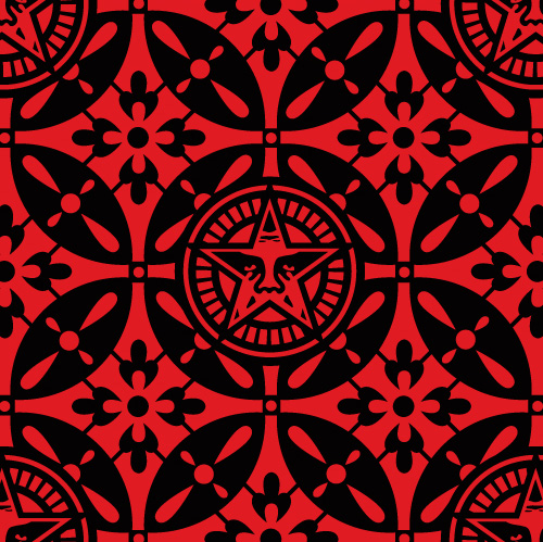 Obey 'Japanese Pattern 2' Black/Red Edition of 75 Size: 18 x 18 Inches 