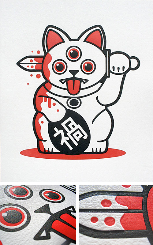 Playge's 'Misfortune Cat' Letterpress Print