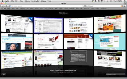 See all of your favourite sites on Safari 4's starting page