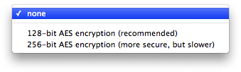 The encryption selection