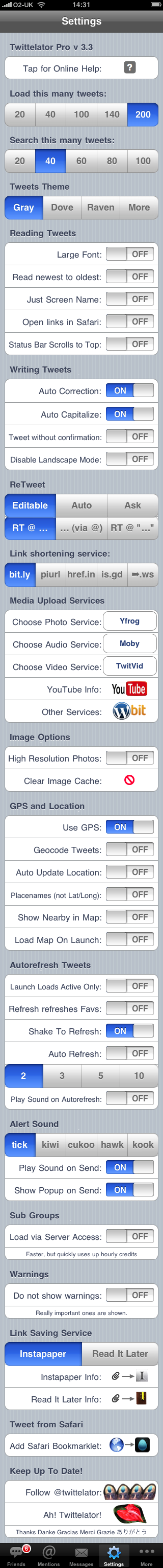 Twittelator's Settings Pane