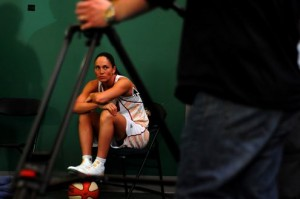 Sue Bird waiting her turn in our green screen room at Storm Media Day 2009