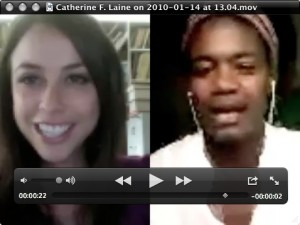 Chatting over skype video with Catherine Laine in Haiti