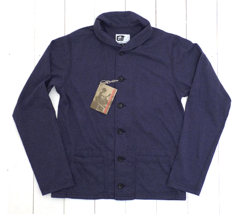 Navy jersey knit Shawl Collar Cardigan