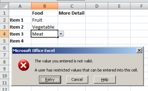 Data entry error shows an error message