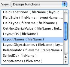 The FileMaker LayoutNames Function