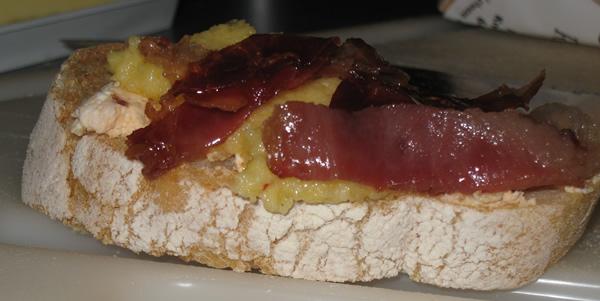 Prosciutto Americano, Soft Cheese And Herb Polenta, chipotle chevre on la mie ciabatta toast