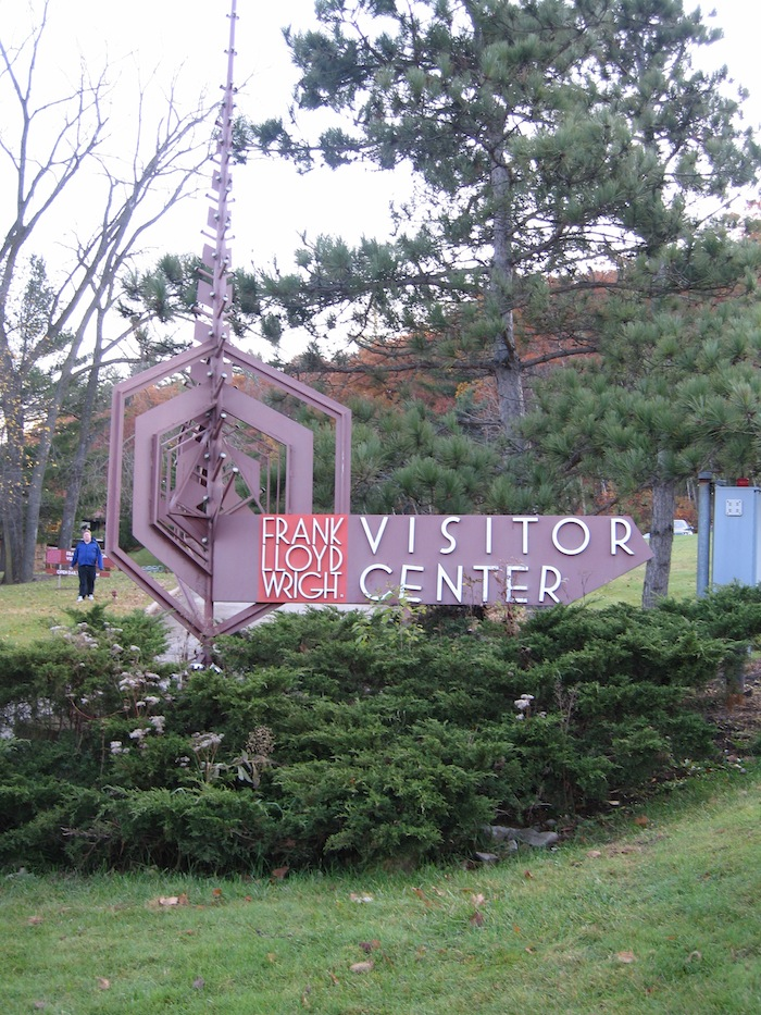 Taliesin Visitor Center sign near Spring Green Wisconsin