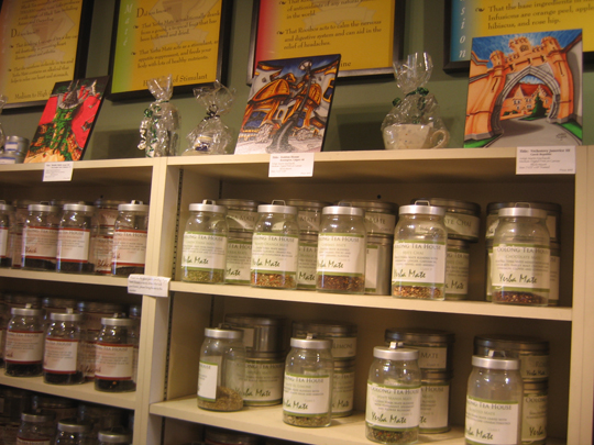 Look for the block mounted prints above the extensive tea selection!