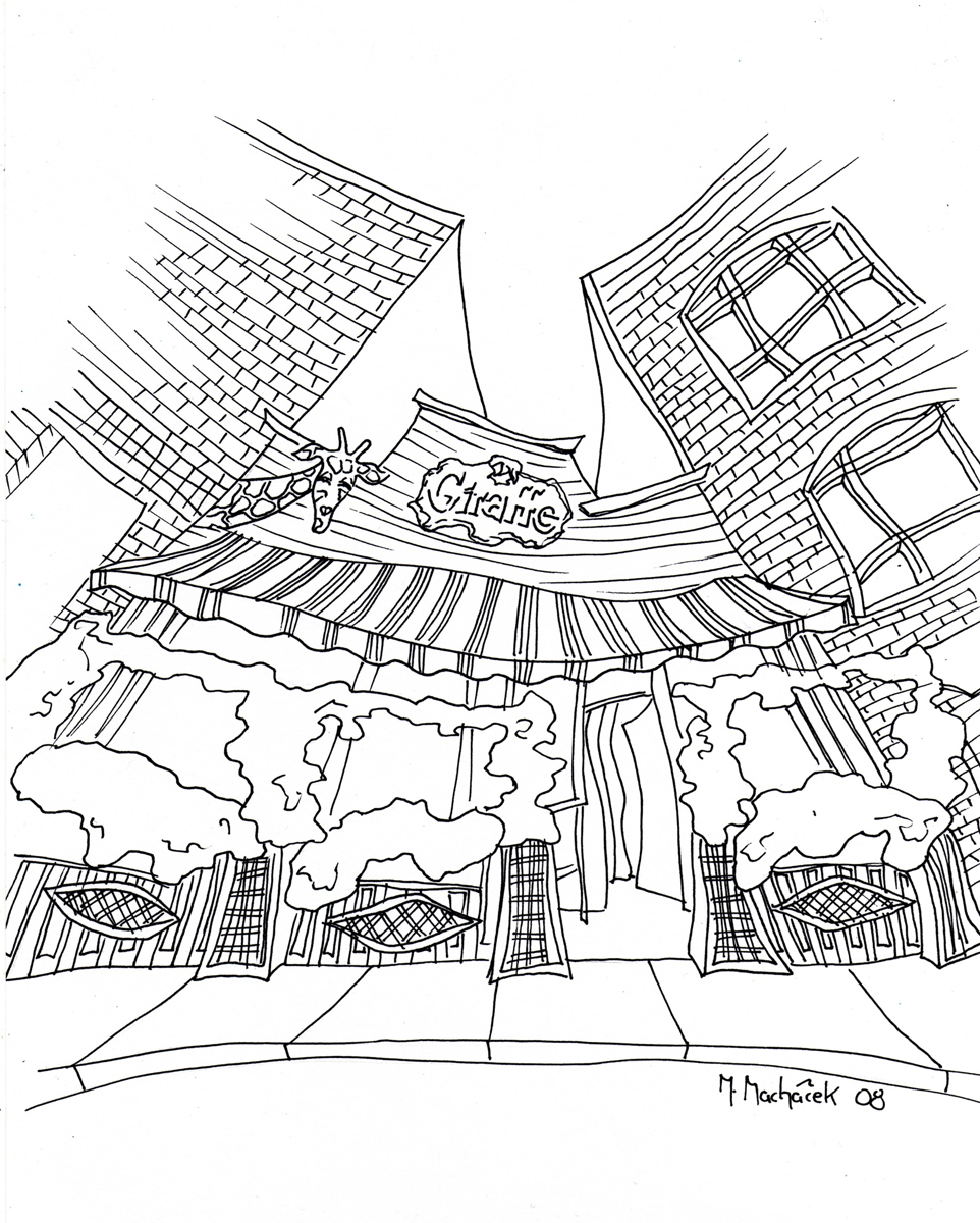One of the earlier pen and ink sketches of The Giraffe restaurant