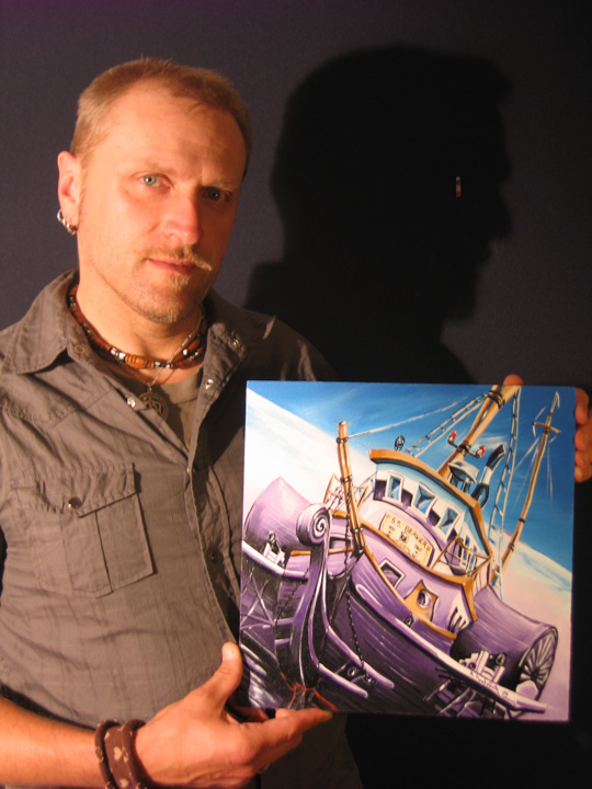 """Me with the """"SS Beaver"""" painting, for scale"""
