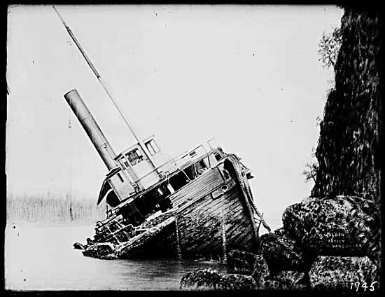 A rendering of the 1888 shipwreck at Prospect Point in Vancouver