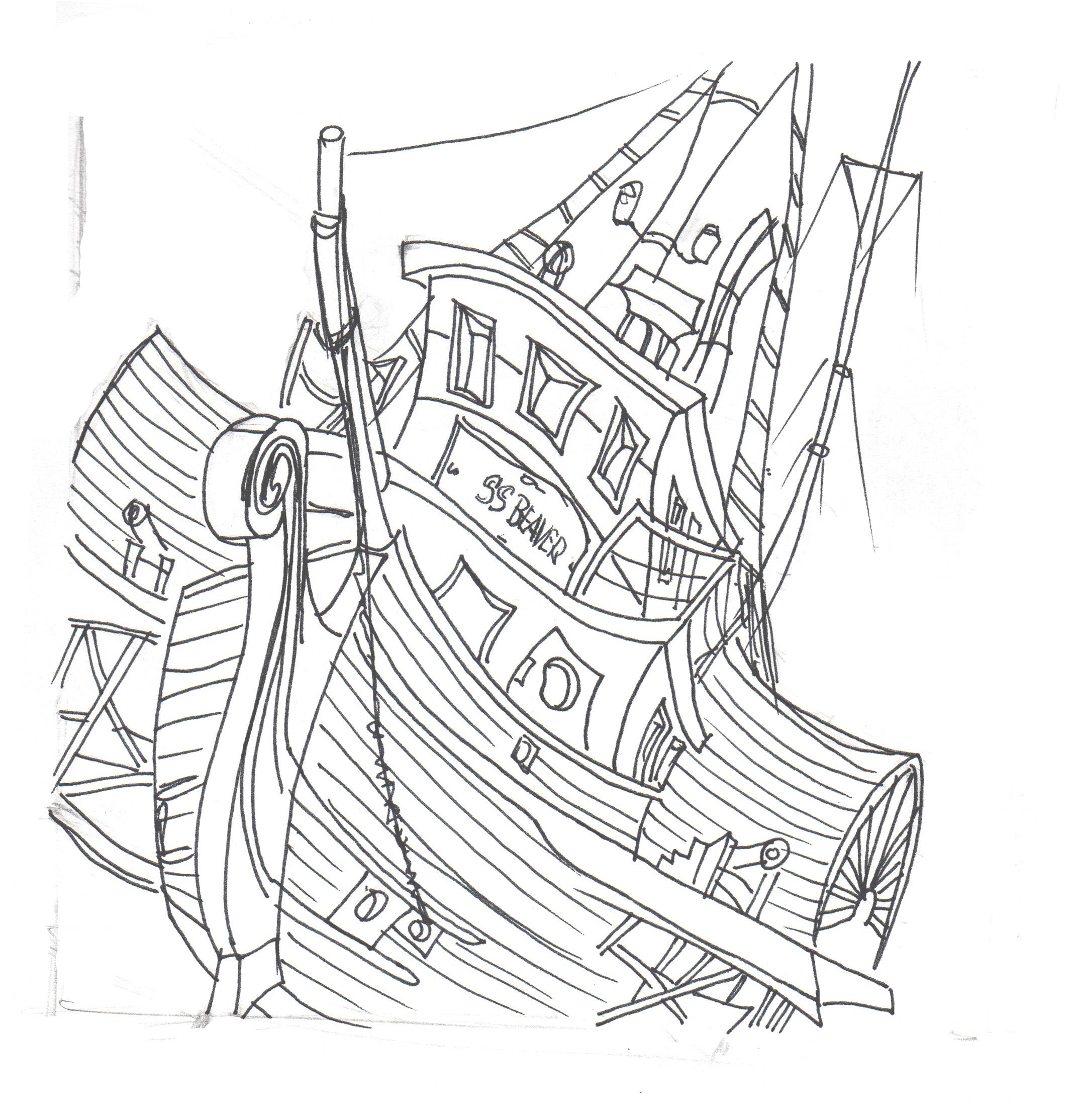Sketch of the SS Beaver, copyright 2009 Martin Machacek