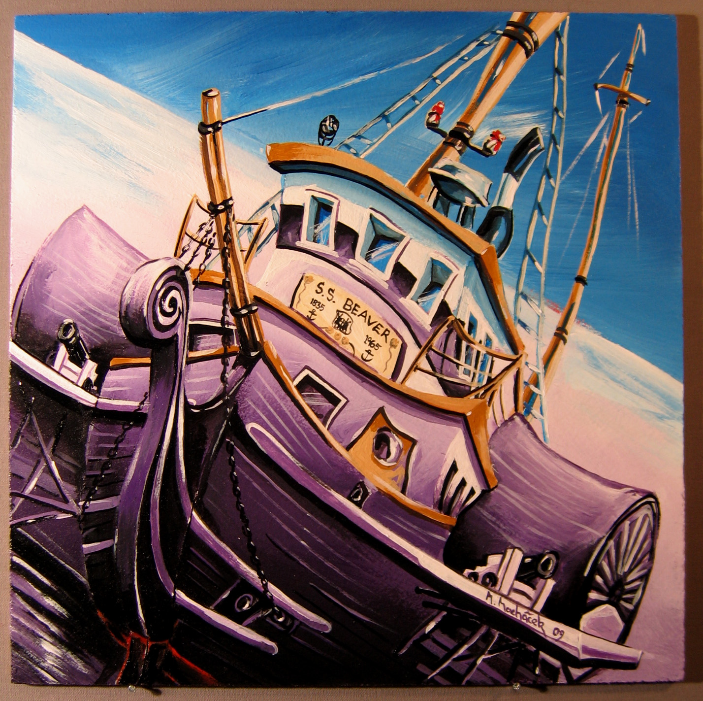 SS Beaver, completed panel of the Kunamokst Mural Mosaic.