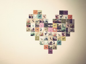 heart shaped photo wall