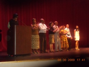 Karen Stephens, third from podium, and other directors/artists.