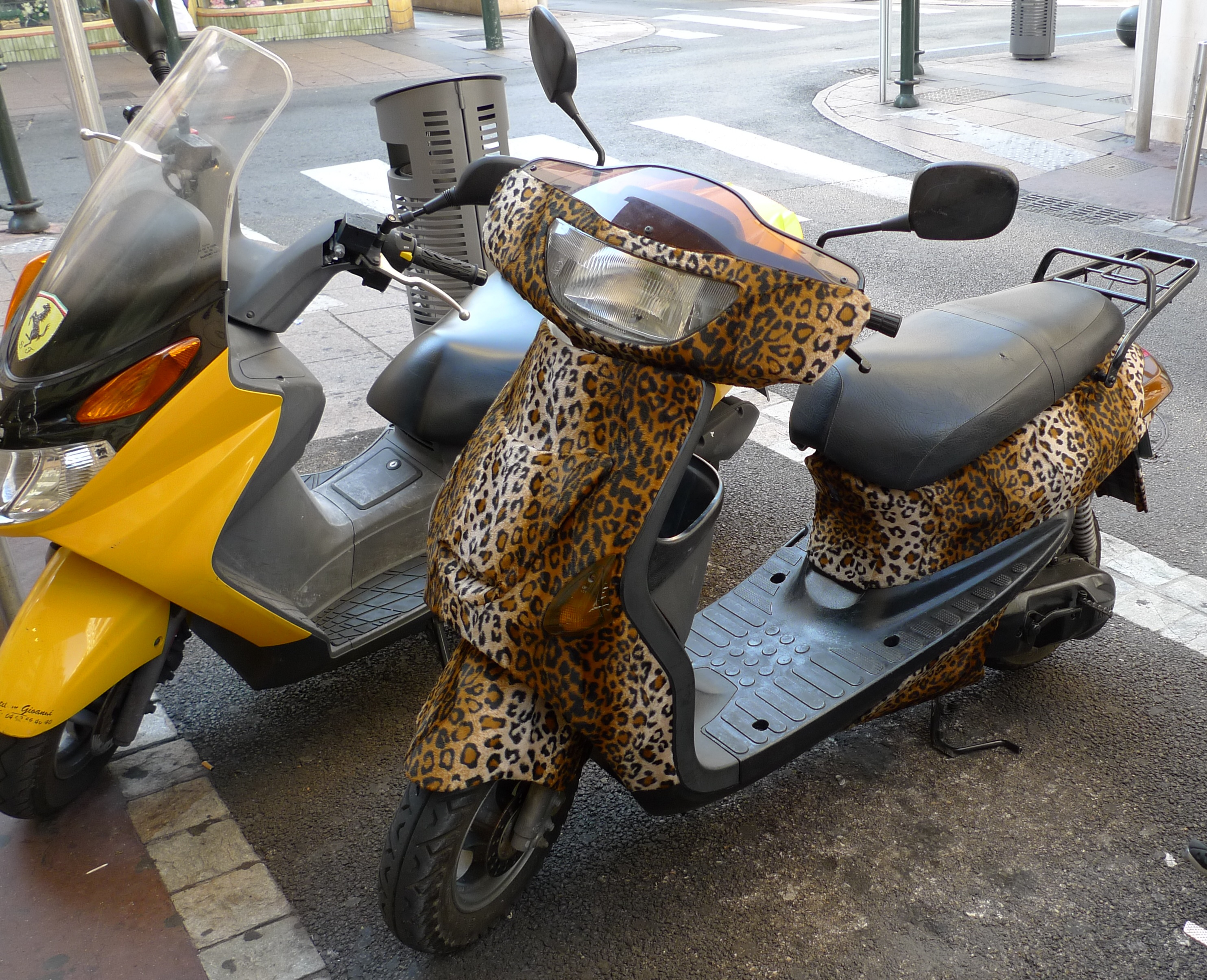 This scooter was in Cannes - The Leopard Skin is actually flock not paint