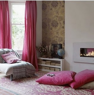 Fuchsia-curtains-rug-floor-pillows