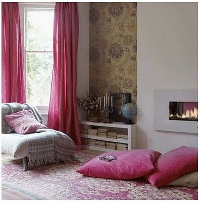 fuschia-rug-floor-pillows-curtains