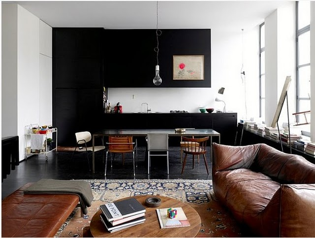 black-kitchen-wall-color-block-leather-couch