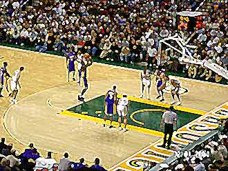 Shaq shoots a free throw
