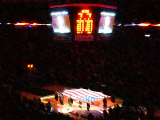 Key Arena during the National Anthem