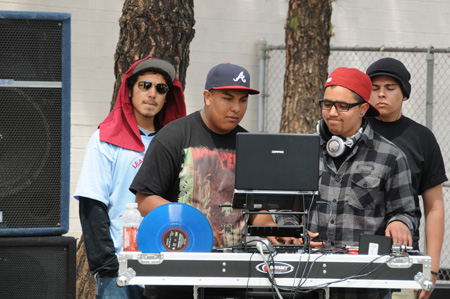 DJing while 500 students work at Banning High School in Wilmington