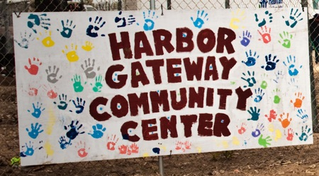 The hand-painted sign outside the center