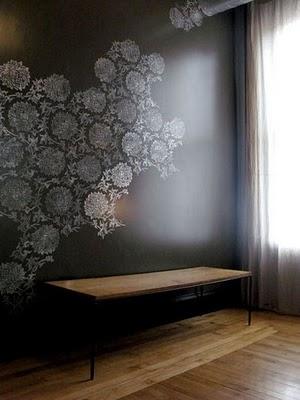 The following pictures of of stenciled walls. I would do a subtle tone on  tone. Perhaps a damask or over sized floral. In the same paint colors I  mentioned ...