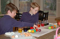 Oldest Boy and Middle Boy coloring eggs