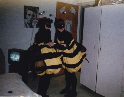 Em and Chrisy bumblebees - showing our stingers