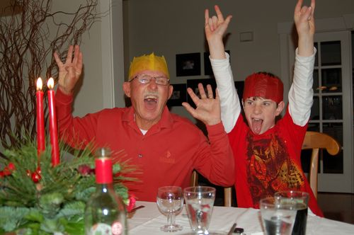 Middle Boy and Papa Parke as Rockers - Christmas 2010