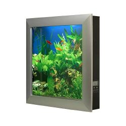 Wall mounted fish aquarium looks like a flat panel tv for Wall mounted fish tanks