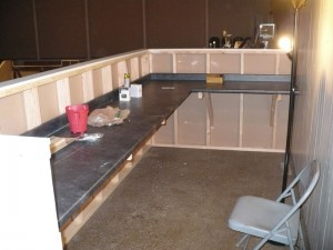 Tech booth. We left the inside open so we can easily drop cables over the counter to below. Click to enlarge.