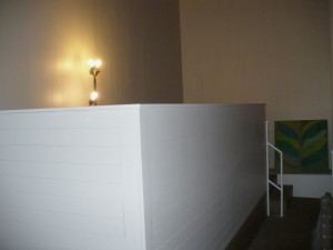 Tech booth sided with 1x4 to match the room. It really looks good! Click to enlarge.