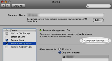 From System Preferences, select the Sharing pane, the click on Remote Mangement. Use Computer Settings to get to the VNC menu.