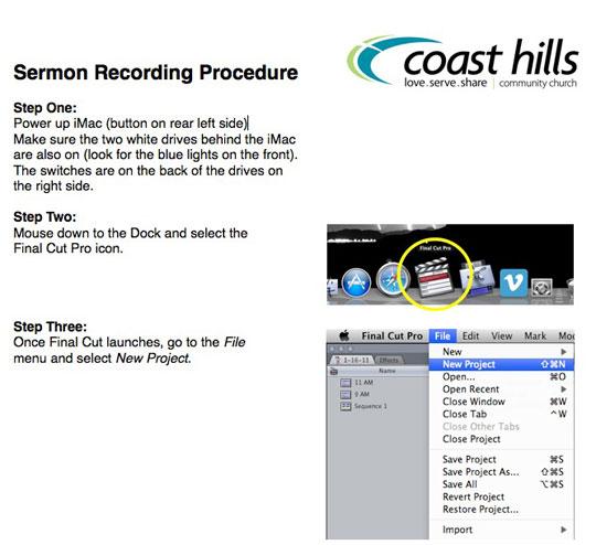 FinalCut Pro Recording Process