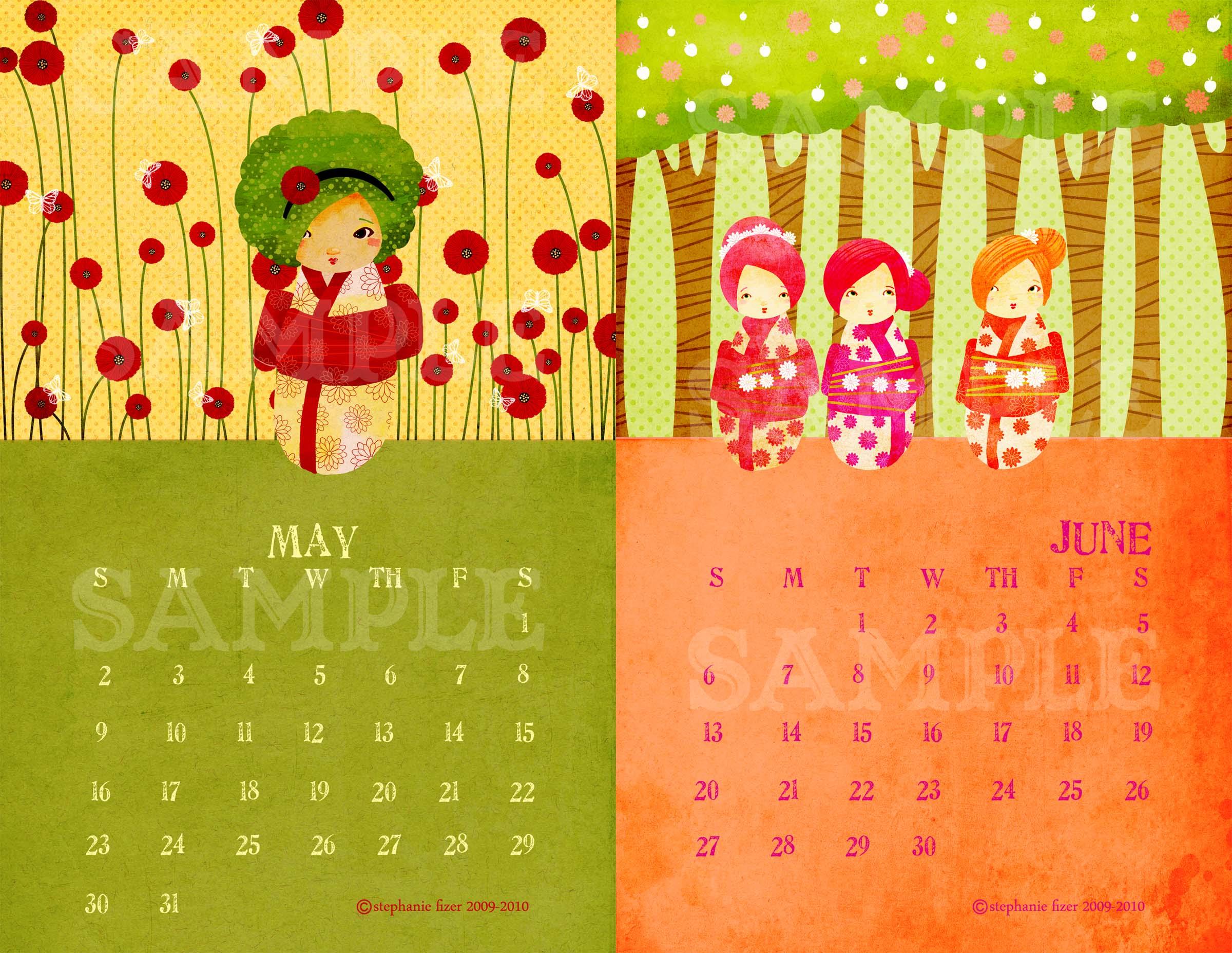 Kokeshi Calendar Samples 2