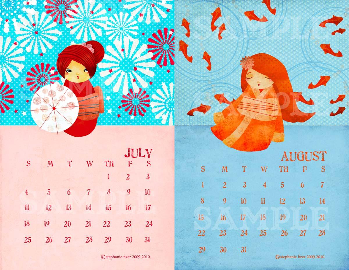 Kokeshi Calendar Samples 3