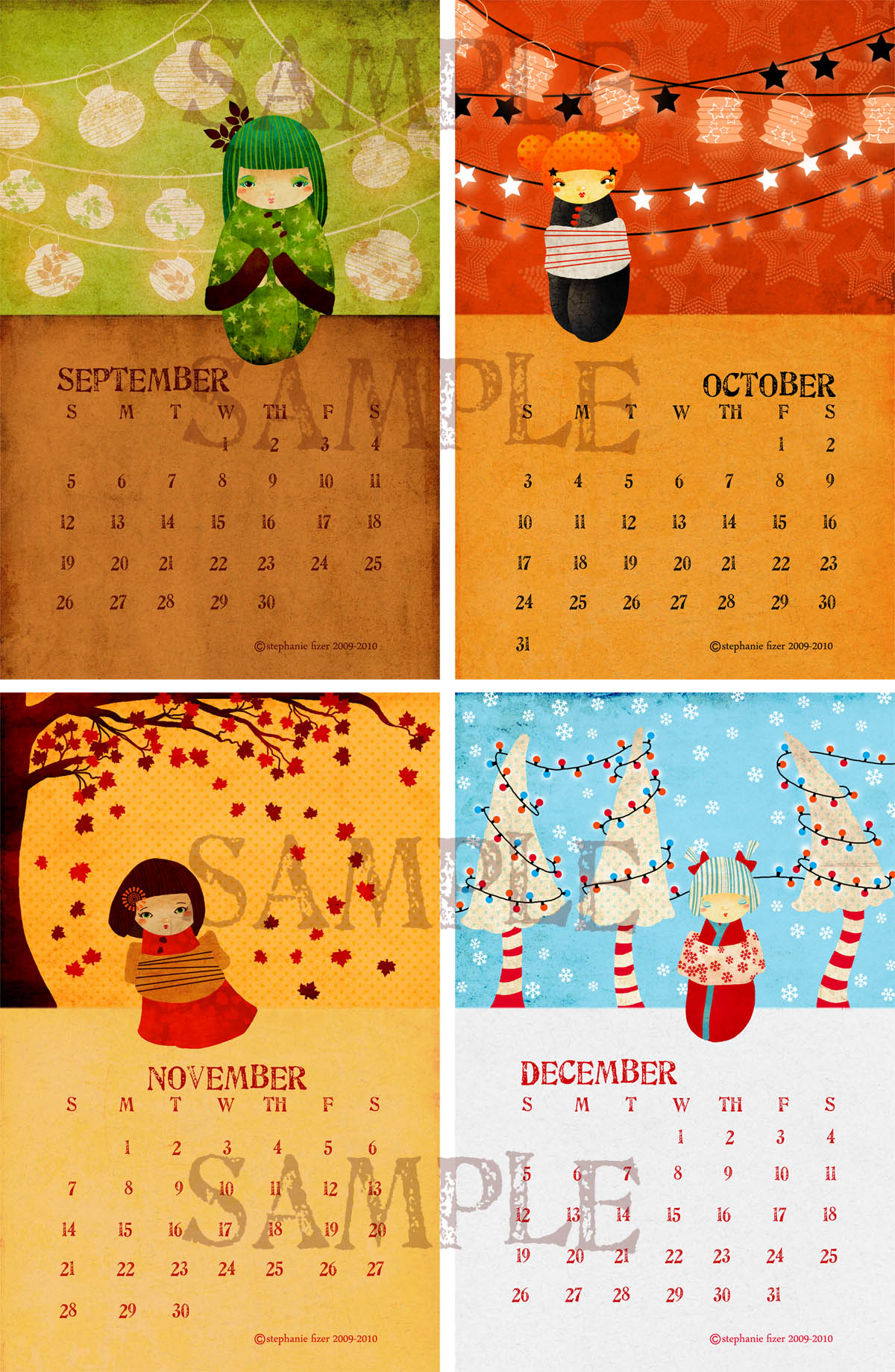Illustration Calendar Design : Kokeshi darling calendar the last four illustrations are