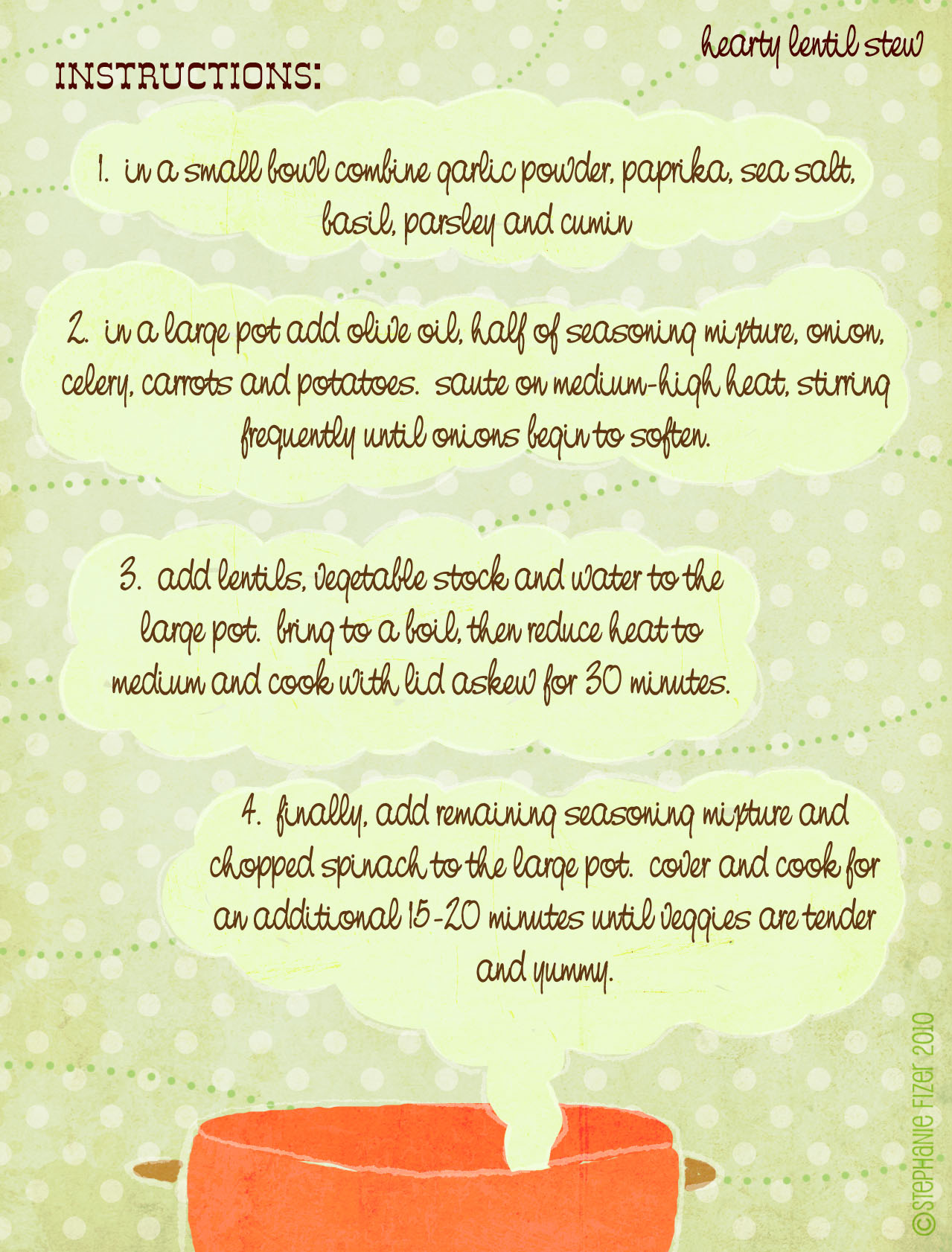 Lentil stew instructions card