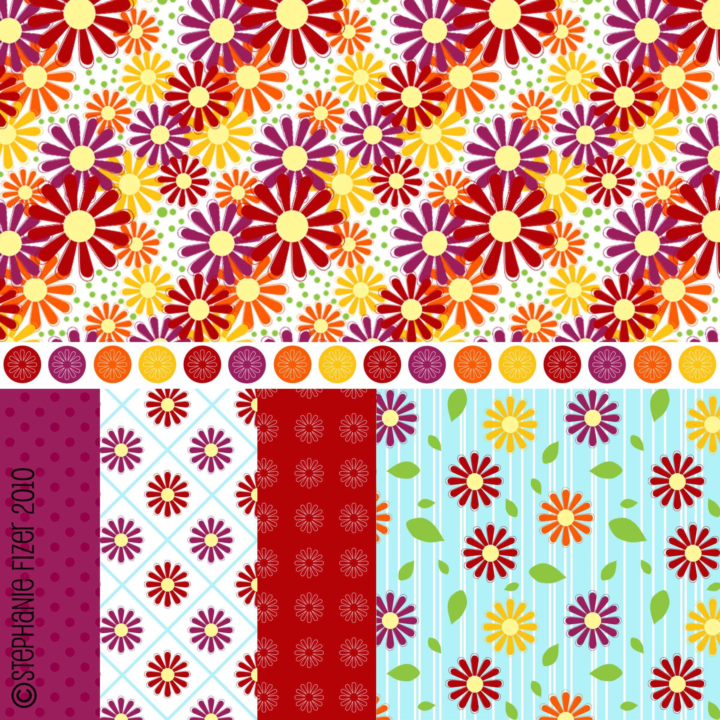 I heart daisies pattern set