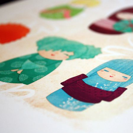 Kokeshi print