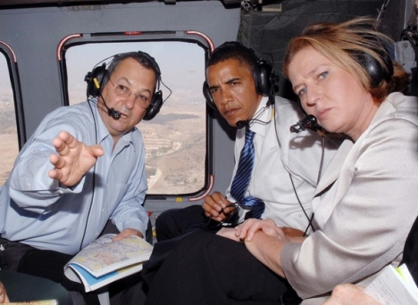 Barack Obama visits Israel with Ehud Barak and Tzipi Livni