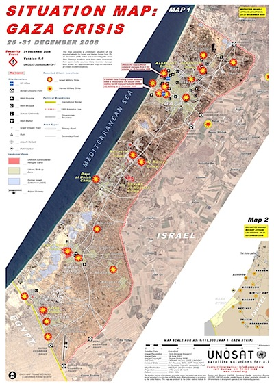 UNOSAT Map of Gaza attacks late December