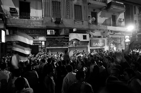 Egyptian crowds near the Algerian Embassy (Elijah Zarwan)